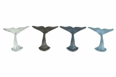 Scratch & Dent Set of 4 Colorful Whale Tail Rustic Cast Iron Wall Hooks
