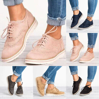 WOMENS LACE UP Brogues Trainers Flat