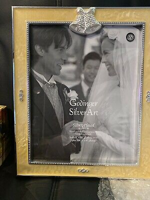 SILVER PLATED PHOTO ALBUM WITH CRYSTAL HEART BY GODINGER SILVER ART CO