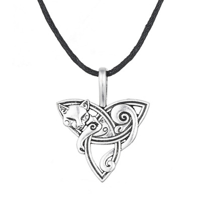 Fox Talisman Pendant Necklace Trinity Knot ANCIENT Celtic Amulet Quality Jewelry