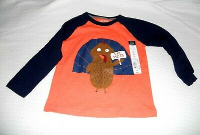 Gymboree Todder Boys Thanksgiving Turkey Eat Pizza Graphic Raglan T-Shirt NEW