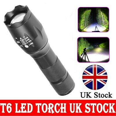Police 90000LM Super Bright T6 Powerful LED Flashlight Zoom torch UK