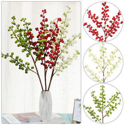5 Branch Berry Artificial Flower Christmas Fake Flower New Year Home Decor 45cm