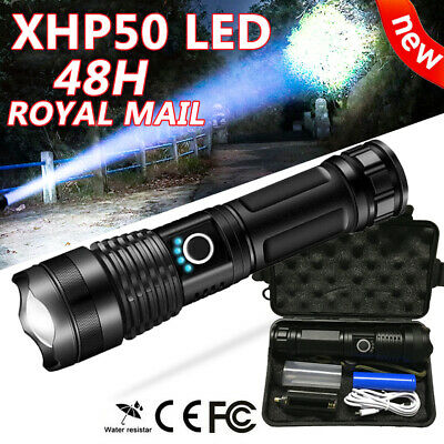 T6 CREE 900000LM LED Torch Rechargeable Zoom Tactical Flashlight w/ USB Charger