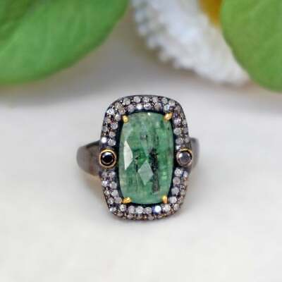 Natural Sapphire Ruby Emerald Opal Gold Vermeil Ring With Rose Cut Diamonds 925 Sterling Silver Rings Gem Stone Jewelry C-R308