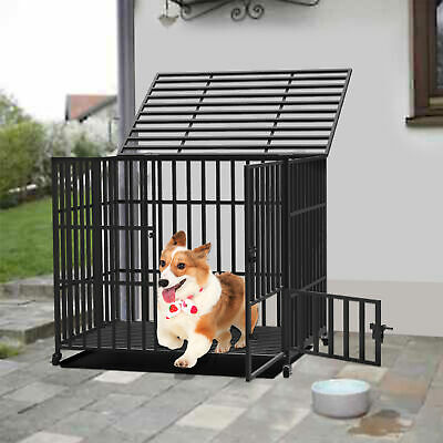 Strong Dog Cage Crate Pet Kennel Optimal Ventilation & Visibility Rolling House