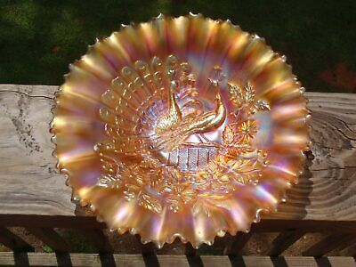 """Antique Northwood PEACOCKS ON THE FENCE Carnival Glass 9"""" BOWL Pie Crust Edge EC"""