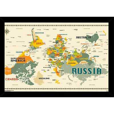 World Map Upside Down Poster with Choice of Frame (24x34)  Large