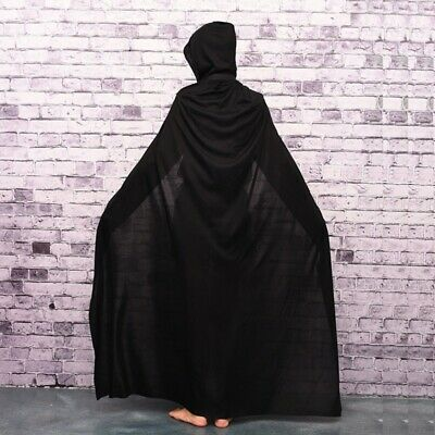 Unisex Kids Hooded Cloak Gothic Vampire-Wicca Robe Medieval Larp Cape Black