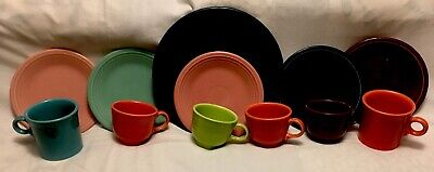 FIESTAWARE SET OF MIXED COLORS  5 Salad Plates/Saucers 6 Mixed Cups & 1 Plate.