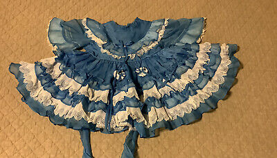 Vintage Girls Dress Size 2/3T Martha Miniatures Sheer Blue Ruffle Lace Full