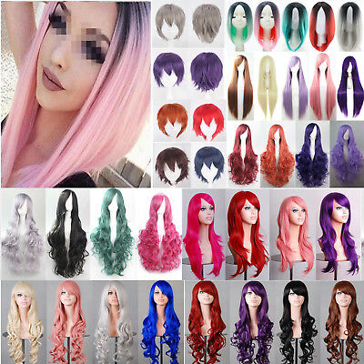 Women Long Hair Full Wig Curly Wavy Straight Party Fancy Dress Cosplay Short Wig