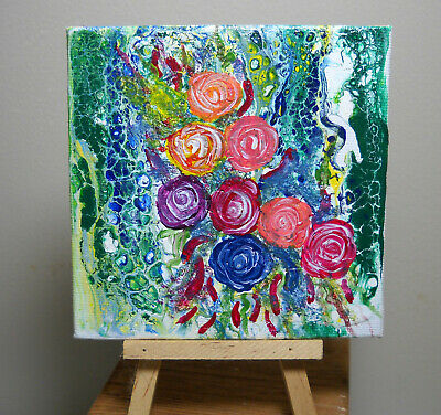 Colorful, Original Mini Pour Painting Floral Art by Rain Crow
