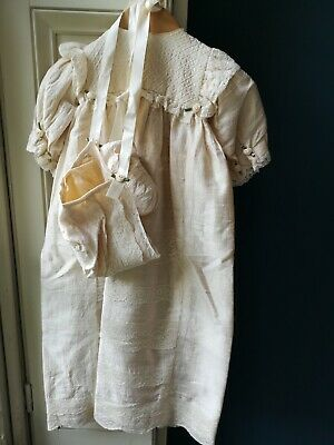 CAREILA Scotland Silk Vintage Christening Gown With Bonnet And Bootees