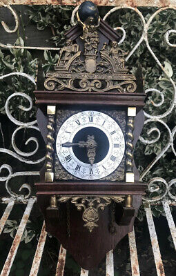Vintage Dutch Weight Driven Wall Clock Bell Chime German Movement Spares Repairs