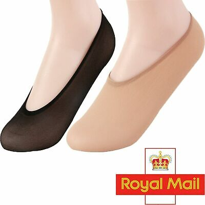 2 Pairs Ladies Shoe Lace Liners Footsies Nude Black Invisible Sock Grip Pads