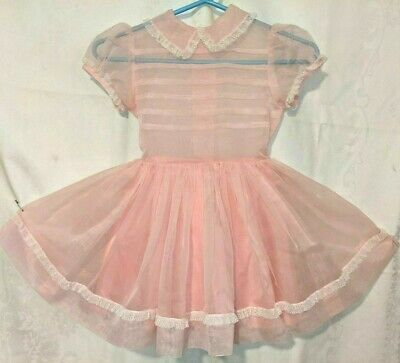 Girls Vintage 1950s Pink Sheer Lace Party Dress Princess Twirl 50's