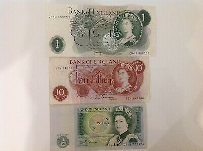 X3 Bank Of England (£1) One Pound Notes & (10/-) Note Signed J.b.page/J.hollom**