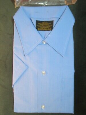 Vintage NEW 70s Sears Perma-Prest Blue Button Up Shirt size XL Short Sleeve