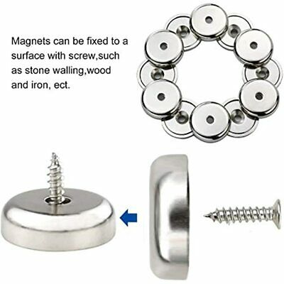 4x Everhang ROUND BASE MAGNET 11.3kg Pull Strength,Attachment Hole,Chrome Plated