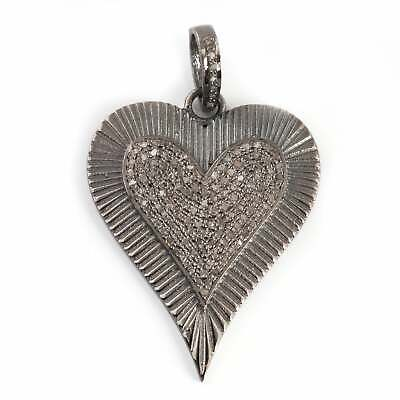 Pave Diamond 2.84 Cts  Heart Shaped Charm Pendant 925 sterling silver Jewelry Gems Trade Mart