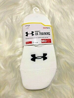Under Armour Womens Ultra Low Socks M 7-10.5 White No Show Peds Ultra Low 3 pk
