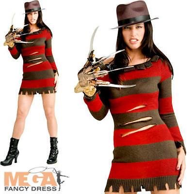 Adult Miss FREDDY KRUEGER Fancy Dress Costume Ladies Halloween Outfit 80s HORROR
