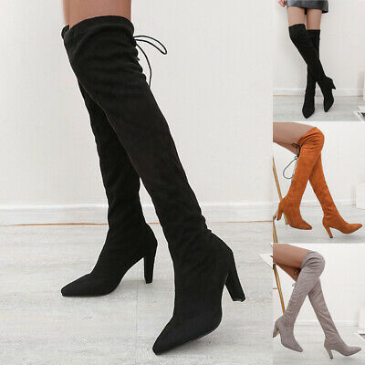 New Women Over Knee High Thigh 60cm//70cm Boots Block 4.5cm cm Heel Riding Shoes