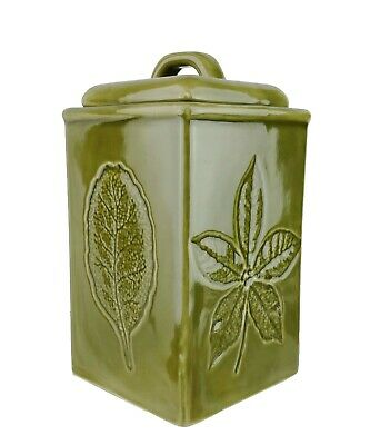 Lillian Vernon Green Kitchen Canister Leaf Motif 4 Different Leaves Each Side 10 86 Picclick Uk