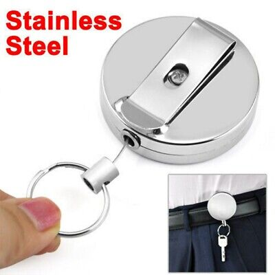 Stainless Steel Retractable Recoil Pull Key Ring Chains Card Holder Belt Clip❤