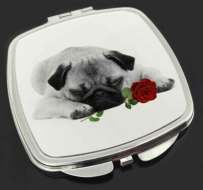 Pug (B+W Photo) with Red Rose Make-Up Compact Mirror Birthday Gift I, AD-P92R2CM