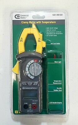 NEW Commercial Electric Clamp Meter with Temperature 600V AC/DC Voltage