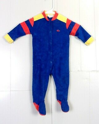 vtg 70s Izod Lacoste Kids Baby Toddler Colorful Terry Cloth Body Suit Pajamas L