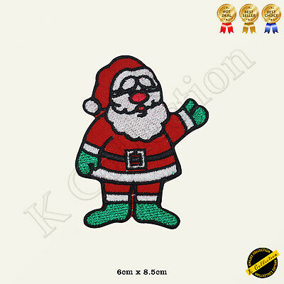 Father Christmas Sack Embroidered Iron Sew On Patch Decoration Santa Claus Badge