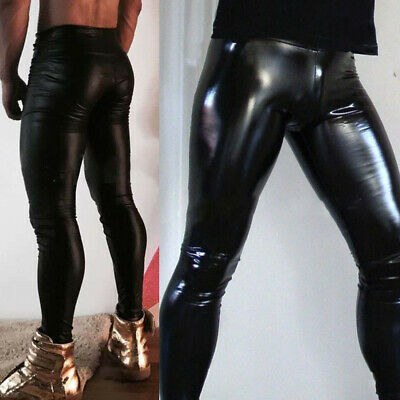 Mens Faux Leather Wet Look Pants Tight Leggings Long Trousers Night Club Party