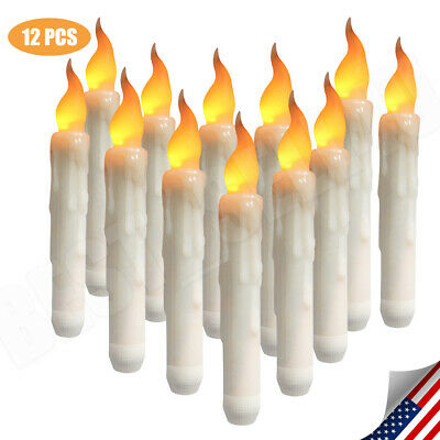 12PZ LED Flickering Flameless Battery Operated Taper Dinner Party Candles Lights