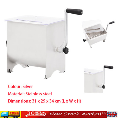 Manual Meat Mixer with Lid Silver Meat Blender Sausage Mixer Machine vidaXL