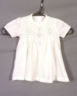 vtg 60s Marshall Field Baby Girl Sweater Dress White Pink Floral Spain 18 Mos