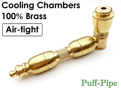 """Metal Tobacco Smoking Pipe Solid Brass Chamber Big Bowl Peace 3/4"""" Screens Pipes"""