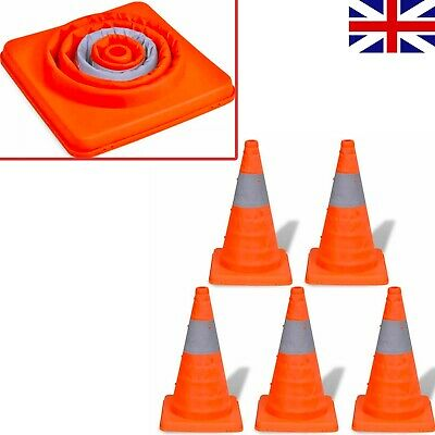 5 Pop-up Traffic Cones 42cm Warning Parking Safety Road Guard Entrance Exit