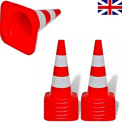 10x Reflective Traffic Cones Red & White 50cm Parking Safety Road Entrance Exit