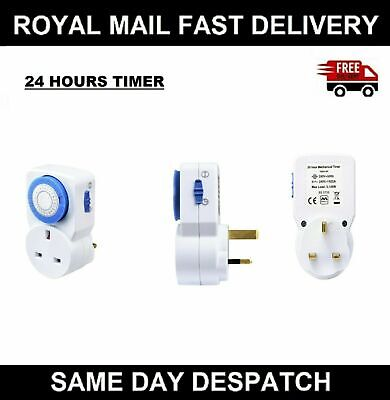 2X 24 Hour Time Clock Socket Uk 3Pin Mains Plug In Timer Switch Mechanical 2Pack