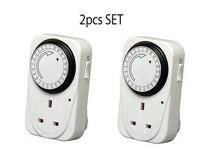 7 days Mains Plug In Timer Switch Time Clock Socket UK 3 Pin Adapter-2PACK