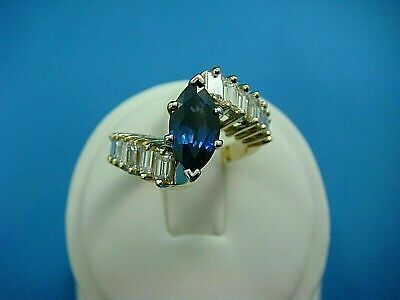 2.2Ct Marquise Cut Blue Sapphire /& Diamond Cluster Ring 14k Yellow Gold Over