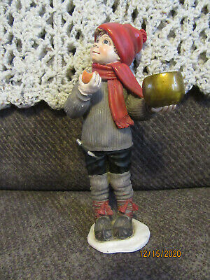 Norwegian Ceramic Figurine - Boy with apple (candle holder) Candy Designs