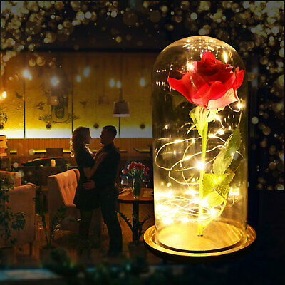 Beauty&The Beast Enchanted Gold Rose Glass Dome LED Lighted Wedding Decor Gift