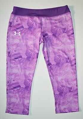 Under Armour Girls Purple Print Fitted Capri Leggings Size Youth XL