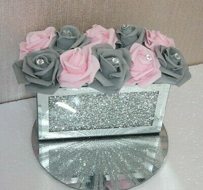 Silver Glitter Flowers Shooters Crushed Diamond Bling Sparkles