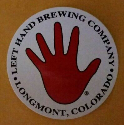 """Left Hand Brewing Company /""""Classic RED HAND/"""" Circle Logo Sticker...AWESOME!!!"""