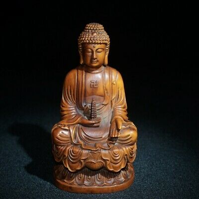 china antique wood carving Boxwood wooden sculpture tathāgata Buddha Exorcism